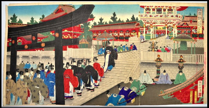 Woodblock print by Kojima Shōgetsu 小島 松 月 (act. 1870-1900) - The Shogun Visiting the Shrine at Nikko - Japan - 1889