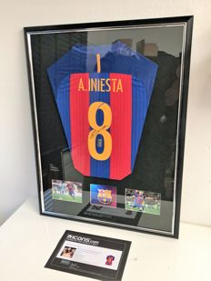 Andres Iniesta Back Signed Barcelona 2016-17 Home Shirt Deluxe official COA