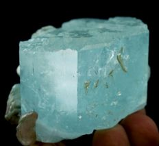 Undamaged & Etched Termination Sky Bue Gemmy Aquamarine Crystal - 52 x 74 x 54 mm - 127 gm