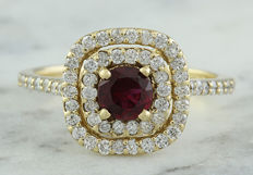 1.40 Carat Ruby And Diamond  0.90 Carat Ring In 14K Solid Yellow Gold - Ring Size: 7 - no reserve