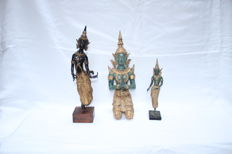 Three bronze and metal statues - Thailand - 2nd half 20th century (36, 35 and 24 cm)
