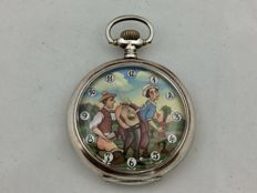 Omega pocket watch with a countryside sex scene on the dial - around 1915