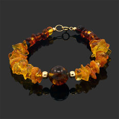 18k/750 yellow gold bracelet with amber - Length 18.5 cm