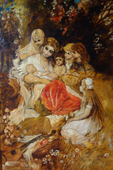 Jugendstil painter from around 1905 - Mutter mit ihren Kindern