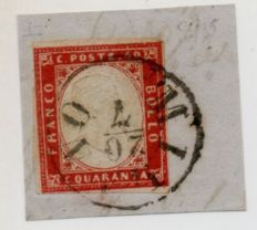 Sardinia 1855-1863 - 40 cent.  scarlet red with Milan postmark, cancelled on 20 July 1859 on fragment during Provisional Government - Sass.  N°  C4
