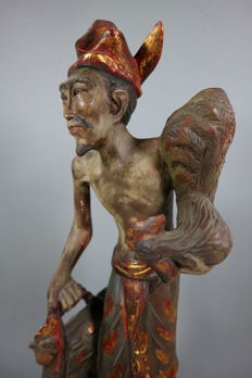 Woodcarving, man with fighter cocks (39.5 cm) - Bali/Indonesia - 2nd half 20th century