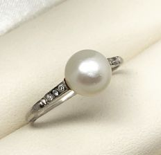 Art Deco Pearl Diamond Ring circa 1930