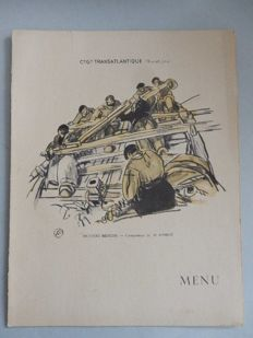 """Illustrated by MATHURIN MÉHEUT - nice copy of Menu 1st class breakfast on the steamer S.S. """"DE GRACE"""" - COMPAGNIE TRANSATLANTIQUE (French Line) - 1938 -"""