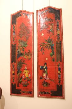 Pair of painted panels with Oriental figures, Europe, 19th century