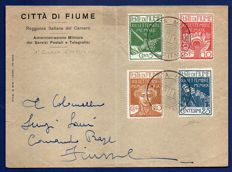 Fiume, 1920 - Entrance of the Legionnaires, complete series of four stamps  On Administrative Military Post and Telegraph envelopes with cancellation on the day of emission - Sassone no. 127-130