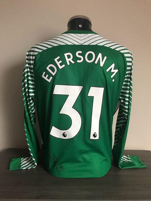ead1fded8 Ederson Moraes signed Manchester City home 2017-2018 keepers shirt with  photos of the moment