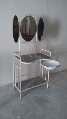 Dressing table in coated wrought iron, 1930