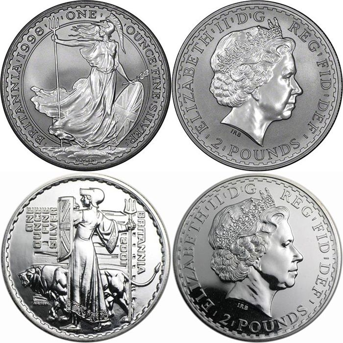 Great Britain - 2 Pounds 1998 and 2000 ' Brittannia' - 2 x 1 oz silver