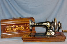 Gritzner Extra hand sewing machine including original wooden hood, Germany, 1920s