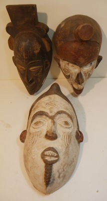 From collectors estate - 3 pieces Old masks, Idoma - Nigeria, Baule - Côte d'Ivoire - Idoma - Nigeria - Africa