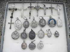 23 silver crosses and medallions - ancient