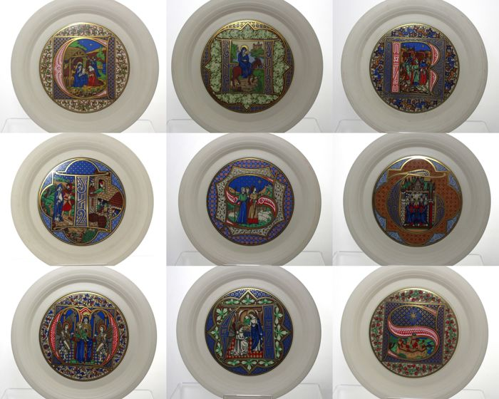 hornsea pottery full set of 9 decorative christmas plates medieval illuminated manuscript letters