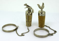 Vintage Silver Plate Fox & Chicken Wine Corks
