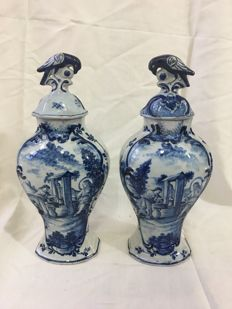 Dutch Delftware cabinet vases with decor of Christ and the Samaritan woman, marked A/DWS