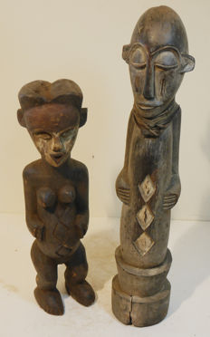 From collector's estate - 2 items Old rare, large sculpture, - Eket - Nigeria, old - sculpture - Vuvi Gabon - Africa