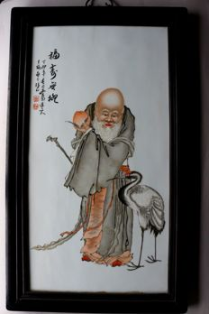 Large porcelain picture with the god of longevity with crane, peach and calligraphy - China - 21st century
