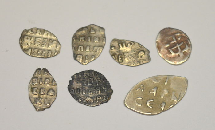 Russia - 15-17th century Silver Wire Kopeks, 7 coins