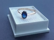 Beatiful 14k gold ring with 1ct sapphire, year 1946, size 18.90mm/ 2.0g***No reserve