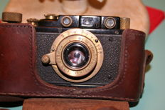 Russian copy of the Leica III DRP Ernst Leitz Wetzlar serial No. 122409 with leather case