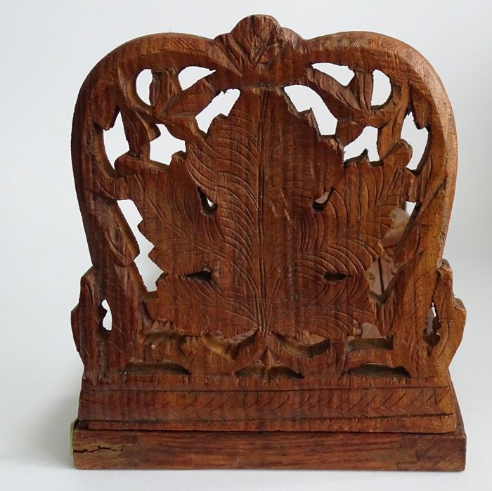 Hand Carved Bookshelf ~ Extendable hand carved wooden bookshelf bookends with