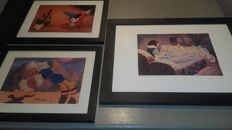 3 beautiful Litho Mickey mouse and Donald and Katrien and snow white and the dwarfs.