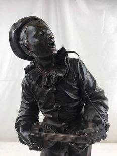 "Eutrope Bouret (1833-1906) - Bronze sculpture ""Au claire de la lune"" - end of 19th century"