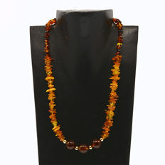 18k/750 yellow gold necklace with amber - Length 47 cm