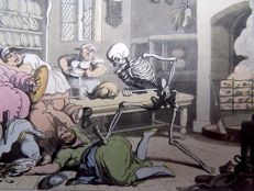 2 x Thomas Rowlandson; Dance of Death, Todentanz, Ars Moriendi; hand colored aquatinta - The Kitchen [Cuisine, Küche, Keuken] / Motherly Love - 1815
