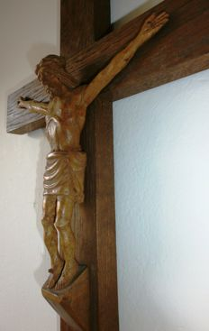 Very detailed hand-carved wooden Crucifix
