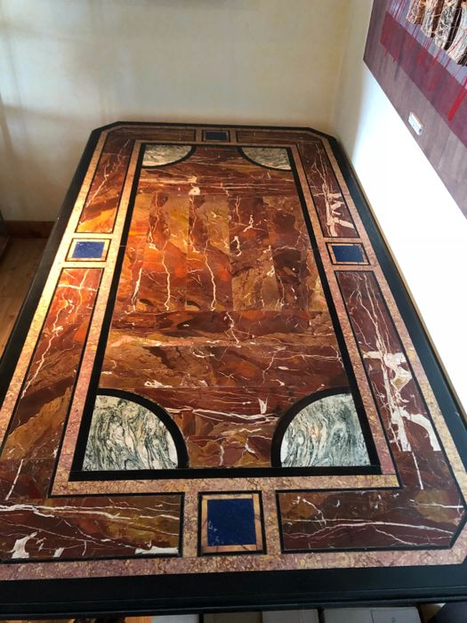 A Baroque style pietra dura and black marble rectangular table, Italy