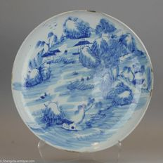 Chinese Porcelain Charger 47cm Scene Landscape,  Republic - China - Ca 1900/30