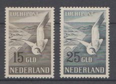 The Netherlands 1951 - Airmail Seagulls - NVPH LP12/LP13, with inspection certificate