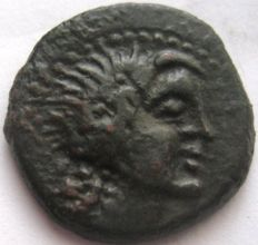 """Greek city of Alaisa Archonidea in Sicily late 3rd-early 2nd Cent. B.C. AE 18 """"Apollo"""""""