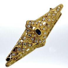 Brooch of 18 kt  with AAA Sapphire of 0.30 ct  and Zirconias
