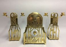 Art Deco clock set, mantel clock and two candlesticks - Stoffels style