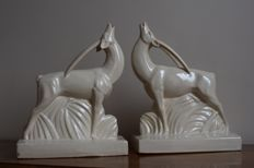 Henri Delcourt - Pair of glazed ceramic bookends in the shape of antelopes
