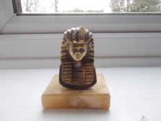 vintage early EGYPTION TUTANKHAMUN car mascot brass on a vintage  marble display plinth stunning original