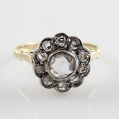 Antique gold with platinum cluster ring with 11 rose cut diamonds