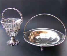 English 1920s Silver Plated Bon Bon Dish/Sugar basket & Silver Plated Fruit Bowl