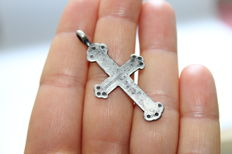 Medieval siver cross pendant -44x22 mm