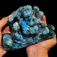 Top Grade Blue Flash premium Labradorite Ganesha - 180x127x65 mm - 6570 cts