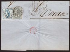 Kingdom of Italy, 1863 - azure 15 Cent and 5 Cent greyish green on the frontispiece of a letter from Livorno to Rome - Sassone No.  12 and 16L
