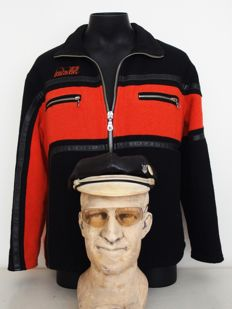 Harley Davidson jacket - size L + leather Road Captain Cap from the 1940s