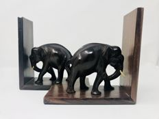 Two elephant bookends with details in bone