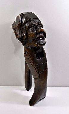 Black Forest : Hand Carved Wooden Mocking NutCracker, 19th Century